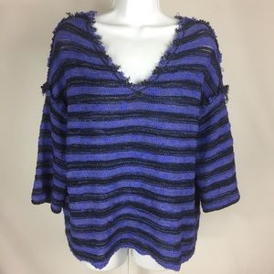 Free People V-Neck Short Sleeve Sweater Striped